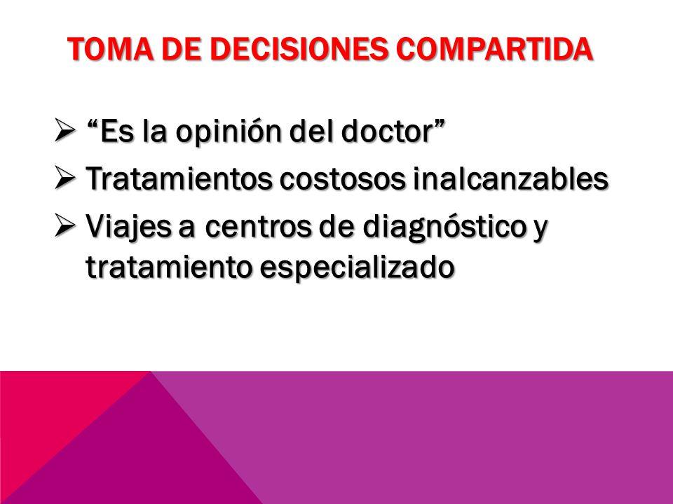 TOMA DE DECISIONES COMPARTIDA Es la opinión del doctor Es la opinión del doctor Tratamientos costosos inalcanzables Tratamientos costosos inalcanzable