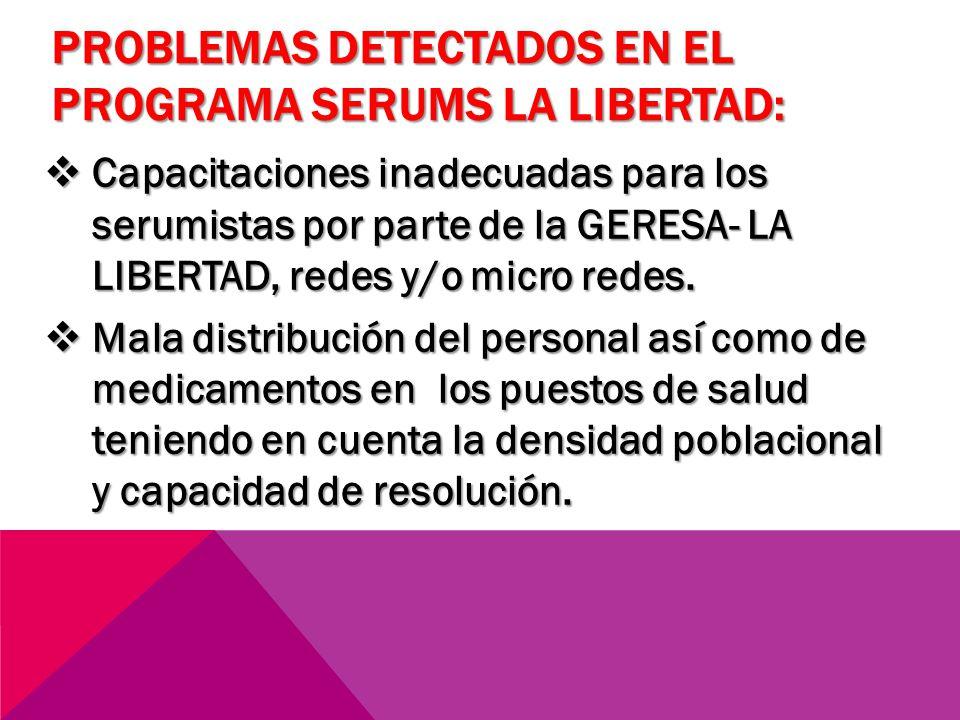 PROBLEMAS DETECTADOS EN EL PROGRAMA SERUMS LA LIBERTAD: Capacitaciones inadecuadas para los serumistas por parte de la GERESA- LA LIBERTAD, redes y/o