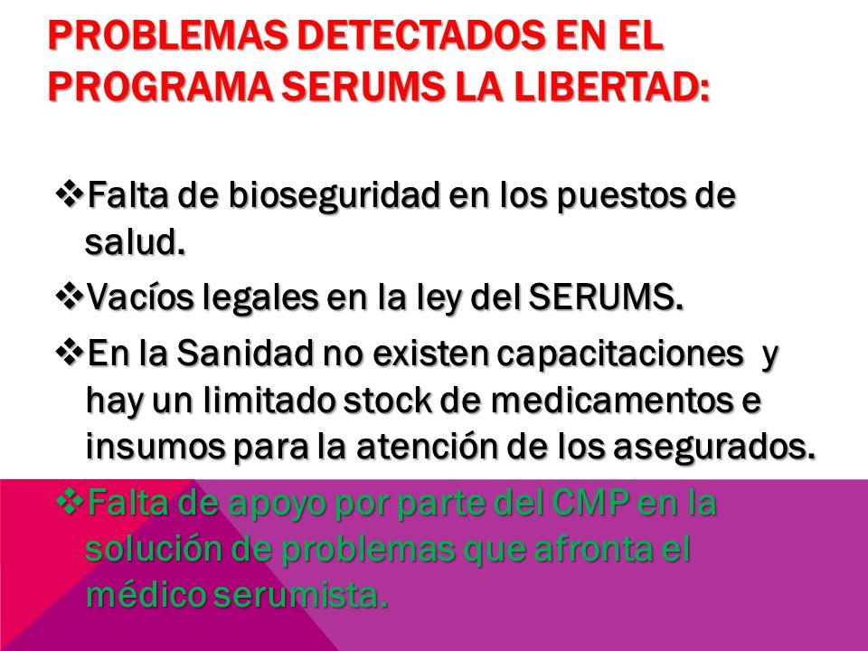 PROBLEMAS DETECTADOS EN EL PROGRAMA SERUMS LA LIBERTAD: Falta de bioseguridad en los puestos de salud. Falta de bioseguridad en los puestos de salud.