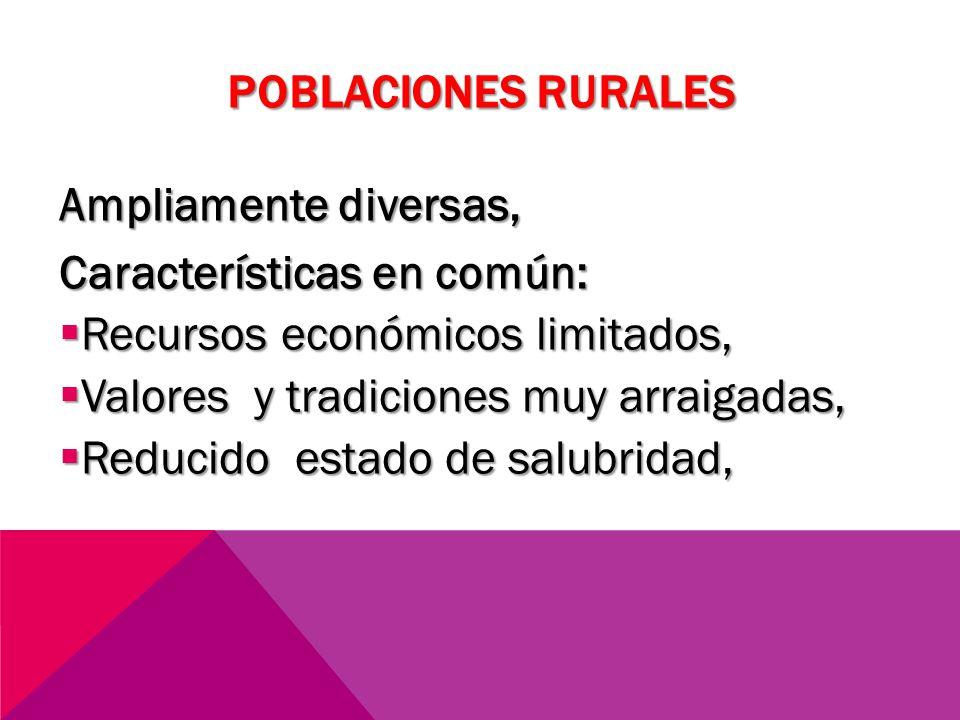 POBLACIONES RURALES Ampliamente diversas, Características en común: Recursos económicos limitados, Recursos económicos limitados, Valores y tradicione