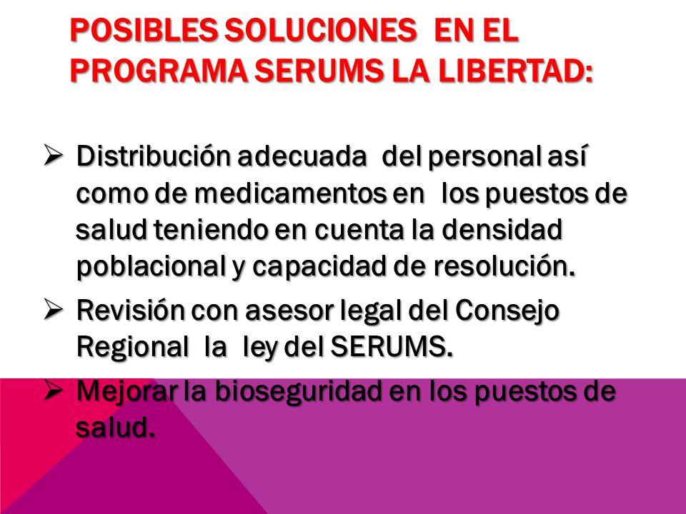 POSIBLES SOLUCIONES EN EL PROGRAMA SERUMS LA LIBERTAD: Distribución adecuada del personal así como de medicamentos en los puestos de salud teniendo en