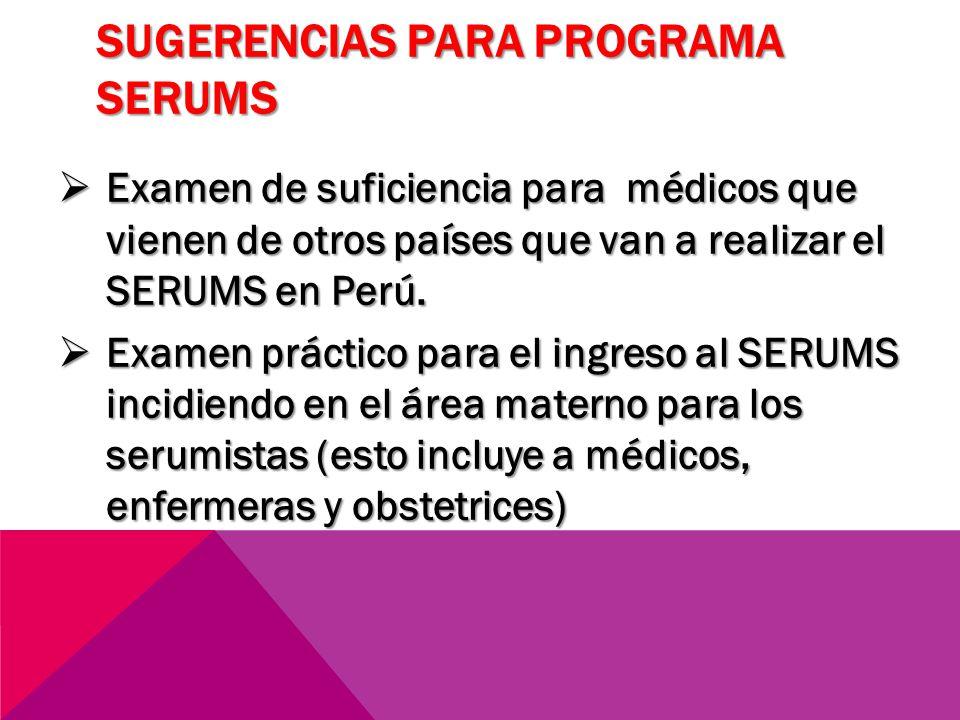 SUGERENCIAS PARA PROGRAMA SERUMS Examen de suficiencia para médicos que vienen de otros países que van a realizar el SERUMS en Perú. Examen de suficie
