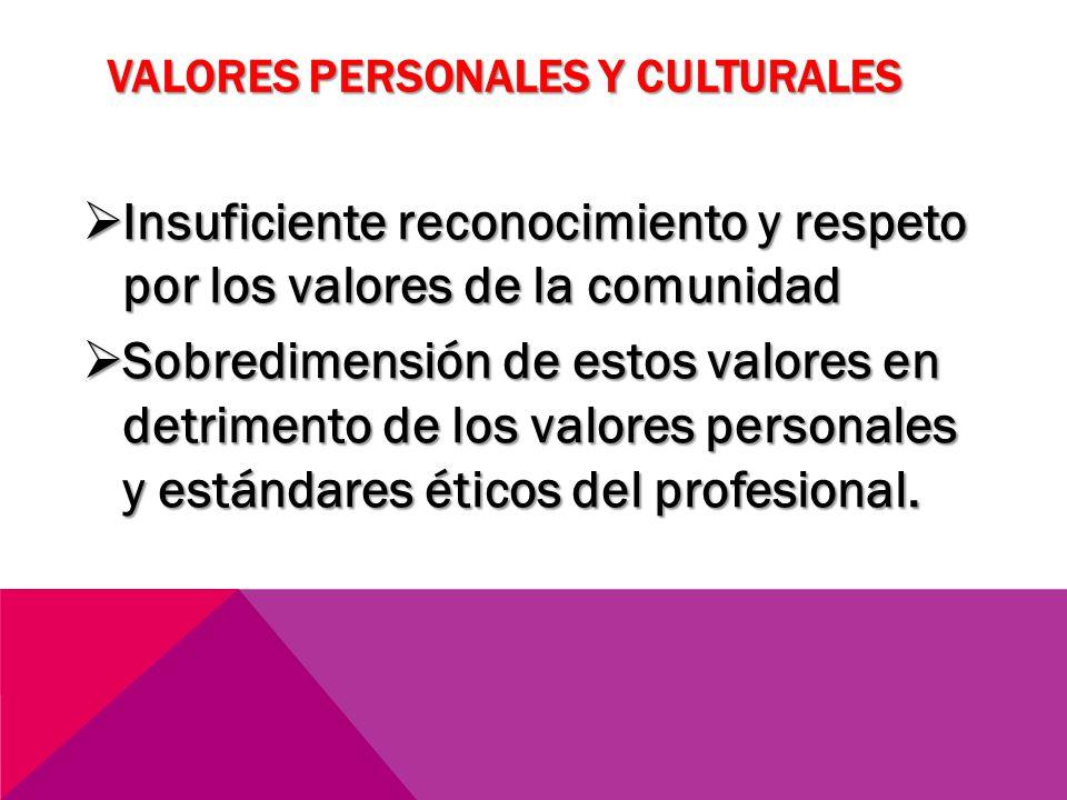 VALORES PERSONALES Y CULTURALES Insuficiente reconocimiento y respeto por los valores de la comunidad Insuficiente reconocimiento y respeto por los va