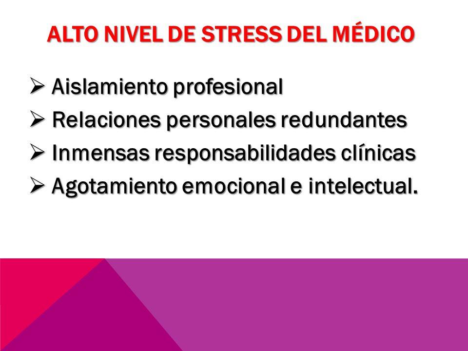ALTO NIVEL DE STRESS DEL MÉDICO Aislamiento profesional Aislamiento profesional Relaciones personales redundantes Relaciones personales redundantes In