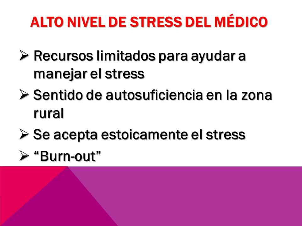 ALTO NIVEL DE STRESS DEL MÉDICO Recursos limitados para ayudar a manejar el stress Recursos limitados para ayudar a manejar el stress Sentido de autos
