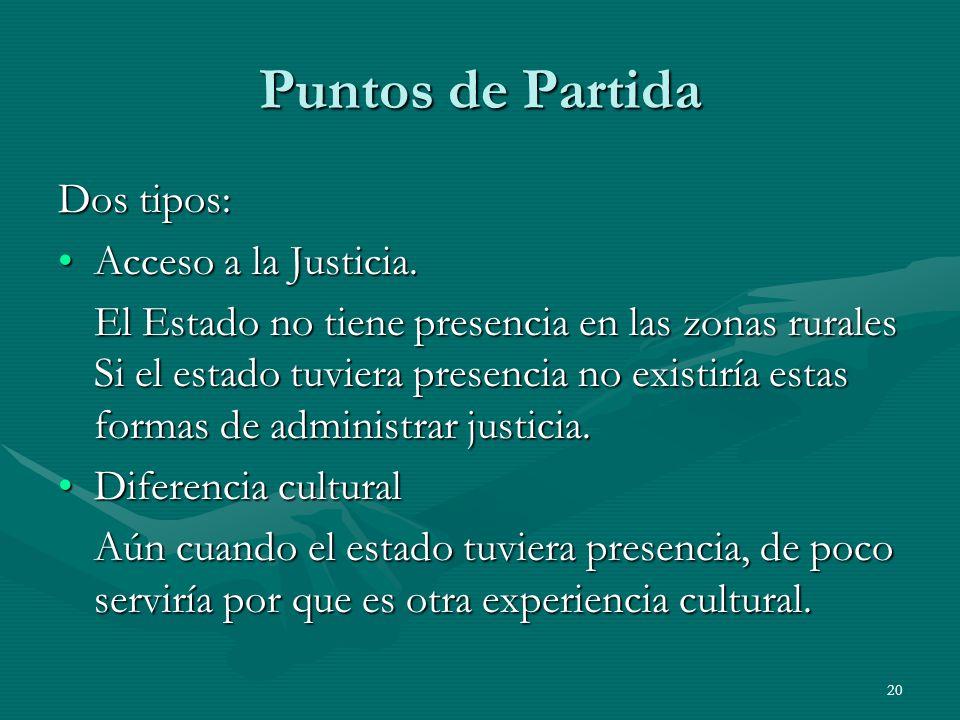 20 Puntos de Partida Dos tipos: Acceso a la Justicia.Acceso a la Justicia.