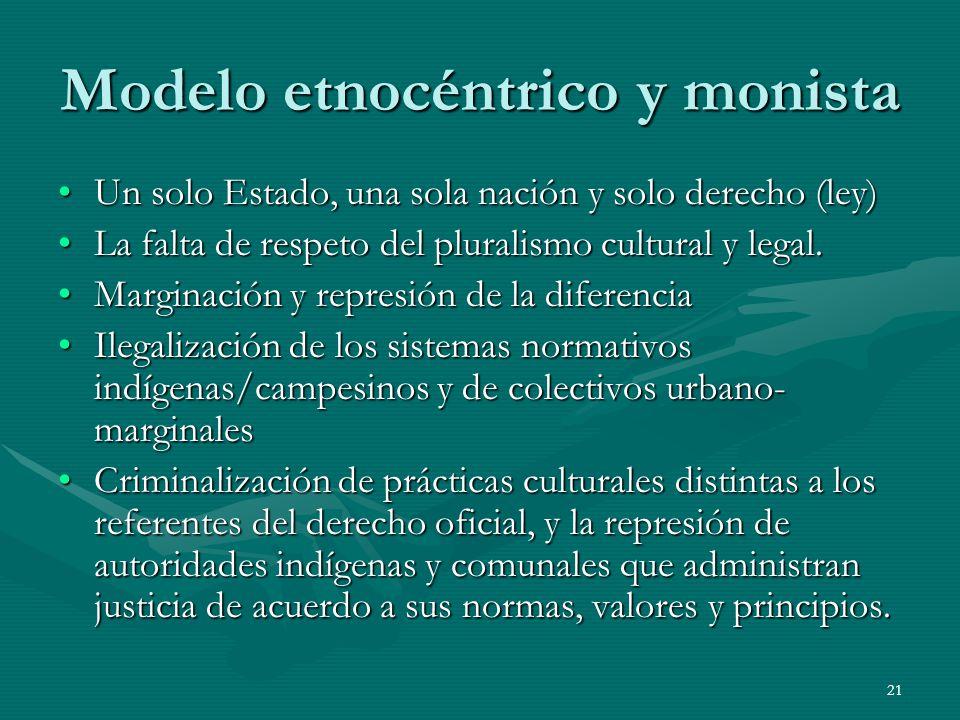 21 Modelo etnocéntrico y monista Un solo Estado, una sola nación y solo derecho (ley)Un solo Estado, una sola nación y solo derecho (ley) La falta de respeto del pluralismo cultural y legal.La falta de respeto del pluralismo cultural y legal.