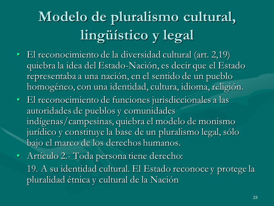 23 Modelo de pluralismo cultural, lingüístico y legal El reconocimiento de la diversidad cultural (art.