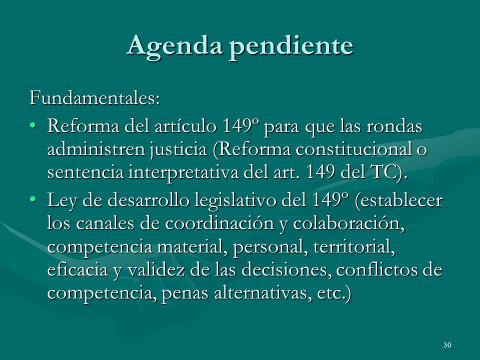30 Agenda pendiente Fundamentales: Reforma del artículo 149º para que las rondas administren justicia (Reforma constitucional o sentencia interpretativa del art.