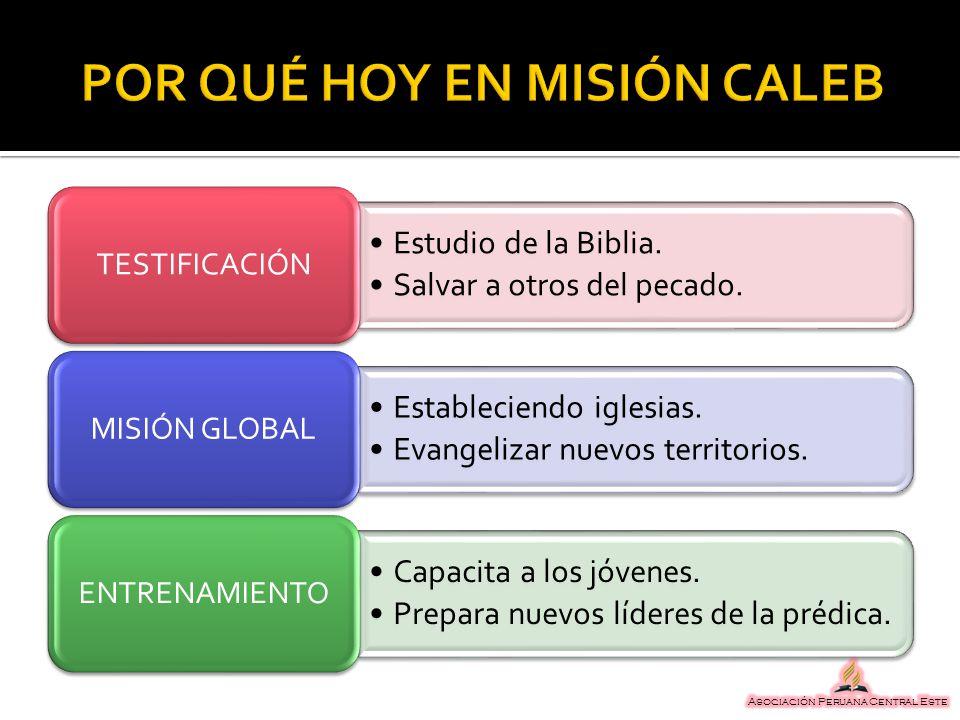 Estudio de la Biblia. Salvar a otros del pecado. TESTIFICACIÓN Estableciendo iglesias. Evangelizar nuevos territorios. MISIÓN GLOBAL Capacita a los jó