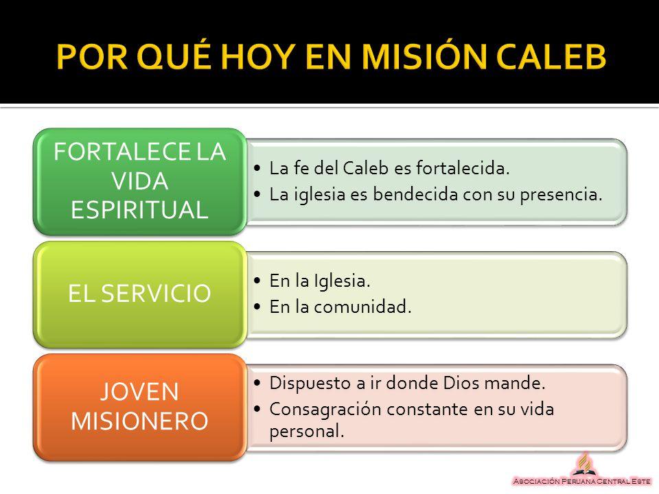 La fe del Caleb es fortalecida. La iglesia es bendecida con su presencia. FORTALECE LA VIDA ESPIRITUAL En la Iglesia. En la comunidad. EL SERVICIO Dis