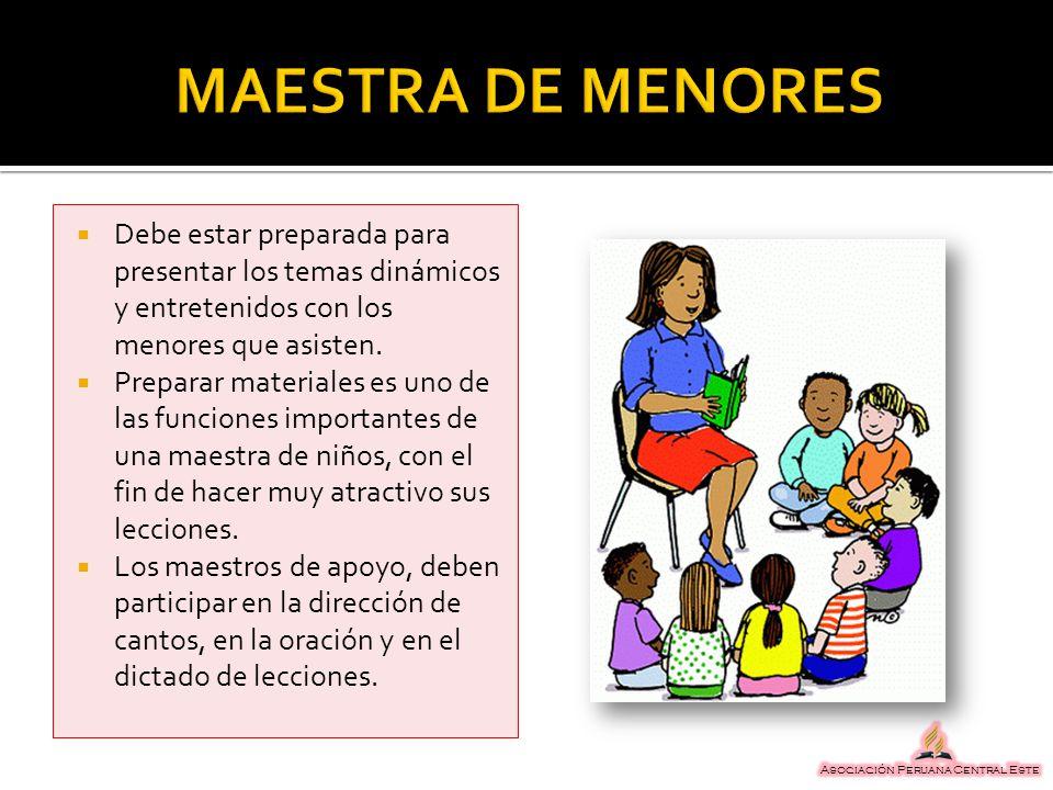 Debe estar preparada para presentar los temas dinámicos y entretenidos con los menores que asisten. Preparar materiales es uno de las funciones import