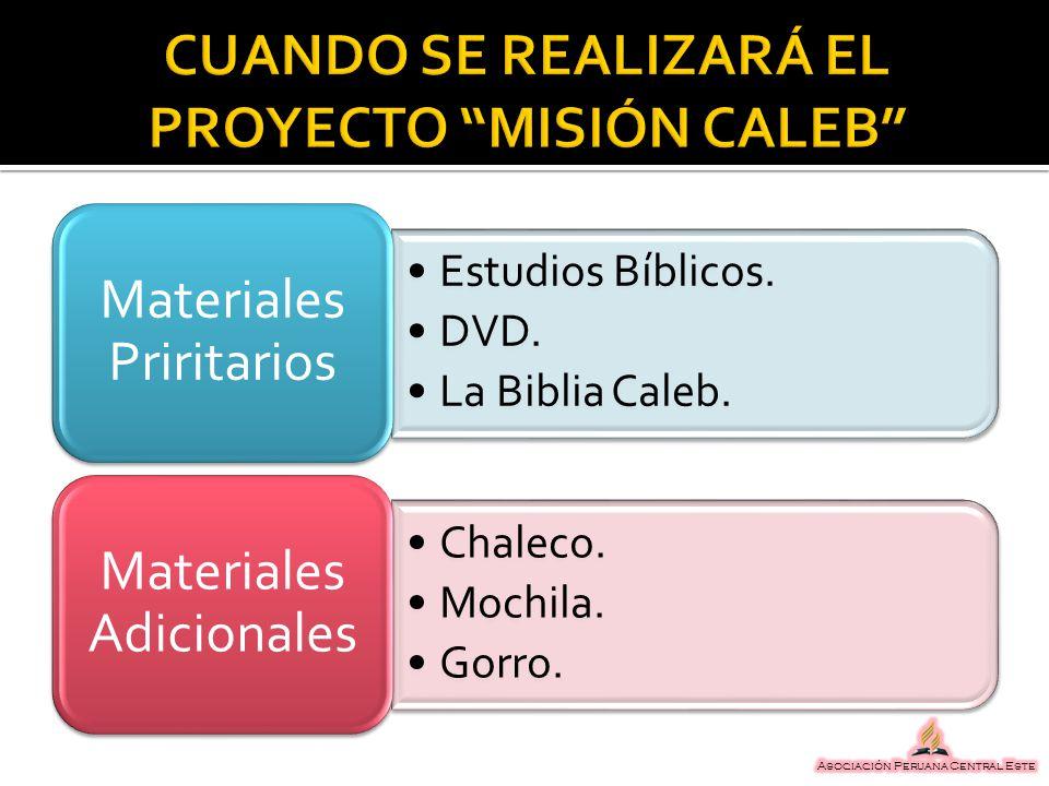 Estudios Bíblicos. DVD. La Biblia Caleb. Materiales Priritarios Chaleco. Mochila. Gorro. Materiales Adicionales