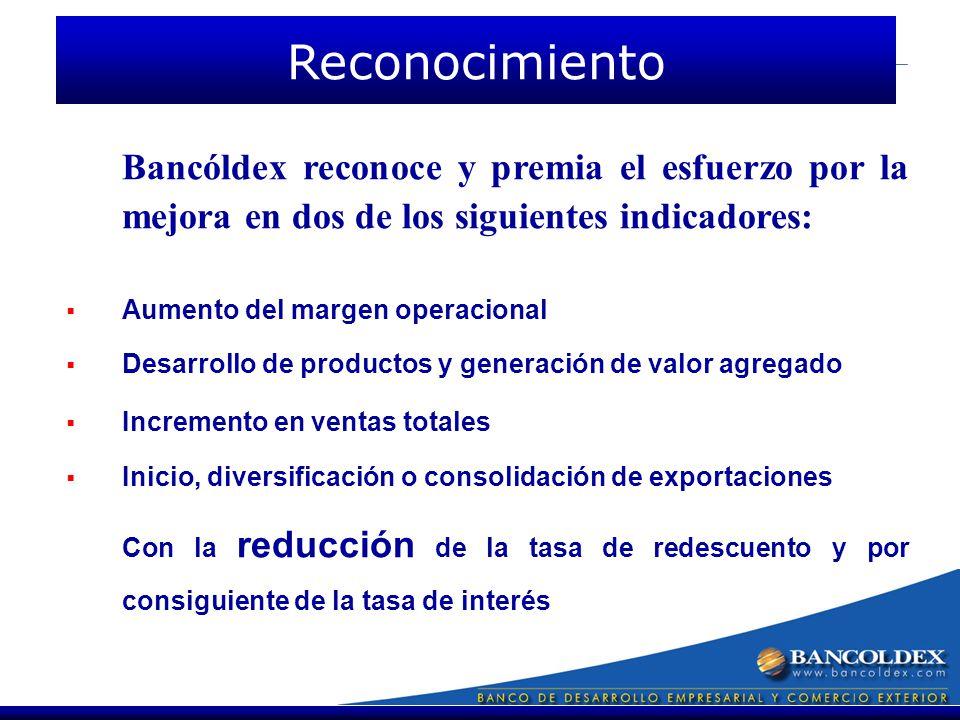 Bancóldex reconoce y premia el esfuerzo por la mejora en dos de los siguientes indicadores: Aumento del margen operacional Desarrollo de productos y generación de valor agregado Incremento en ventas totales Inicio, diversificación o consolidación de exportaciones Con la reducción de la tasa de redescuento y por consiguiente de la tasa de interés Reconocimiento