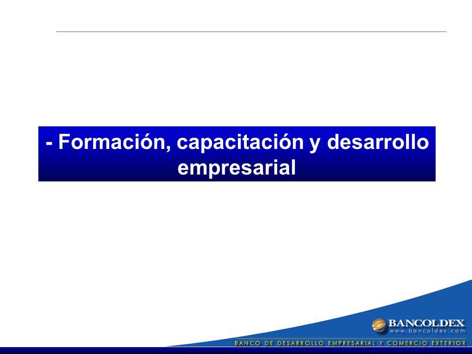 - Formación, capacitación y desarrollo empresarial