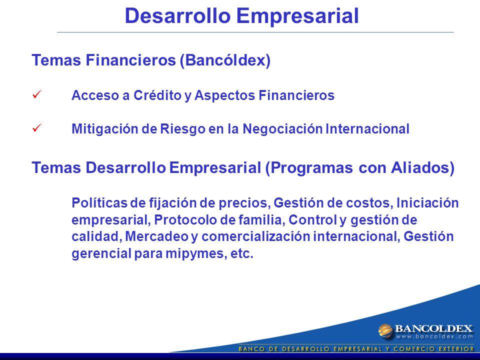 Desarrollo Empresarial Temas Financieros (Bancóldex) Acceso a Crédito y Aspectos Financieros Mitigación de Riesgo en la Negociación Internacional Temas Desarrollo Empresarial (Programas con Aliados) Políticas de fijación de precios, Gestión de costos, Iniciación empresarial, Protocolo de familia, Control y gestión de calidad, Mercadeo y comercialización internacional, Gestión gerencial para mipymes, etc.