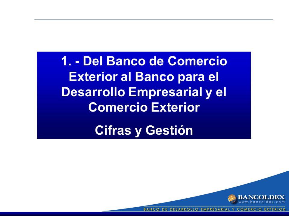 1. - Del Banco de Comercio Exterior al Banco para el Desarrollo Empresarial y el Comercio Exterior Cifras y Gestión