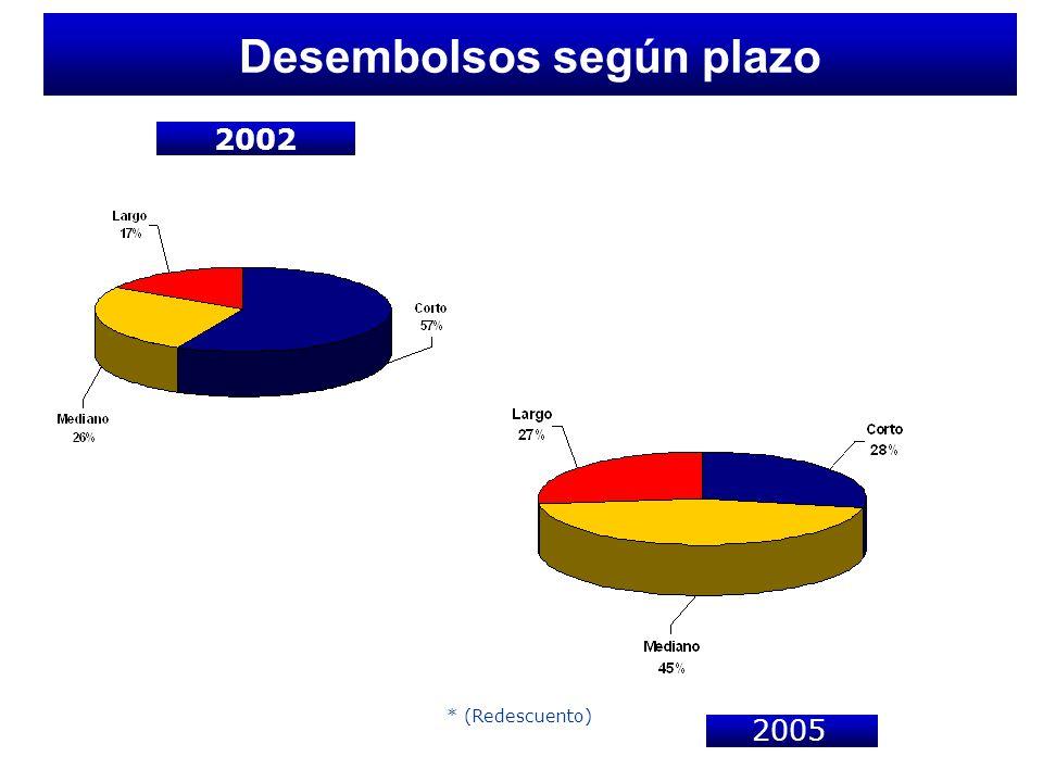 Desembolsos según plazo 2002 * (Redescuento) -- 2005