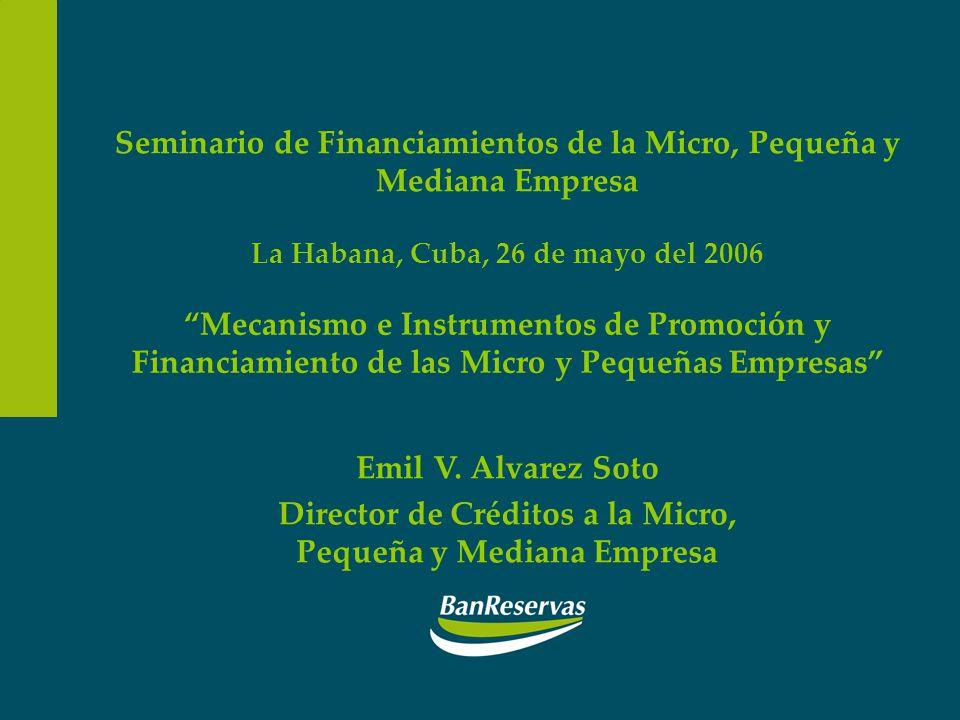 Seminario de Financiamientos de la Micro, Pequeña y Mediana Empresa La Habana, Cuba, 26 de mayo del 2006 Mecanismo e Instrumentos de Promoción y Finan