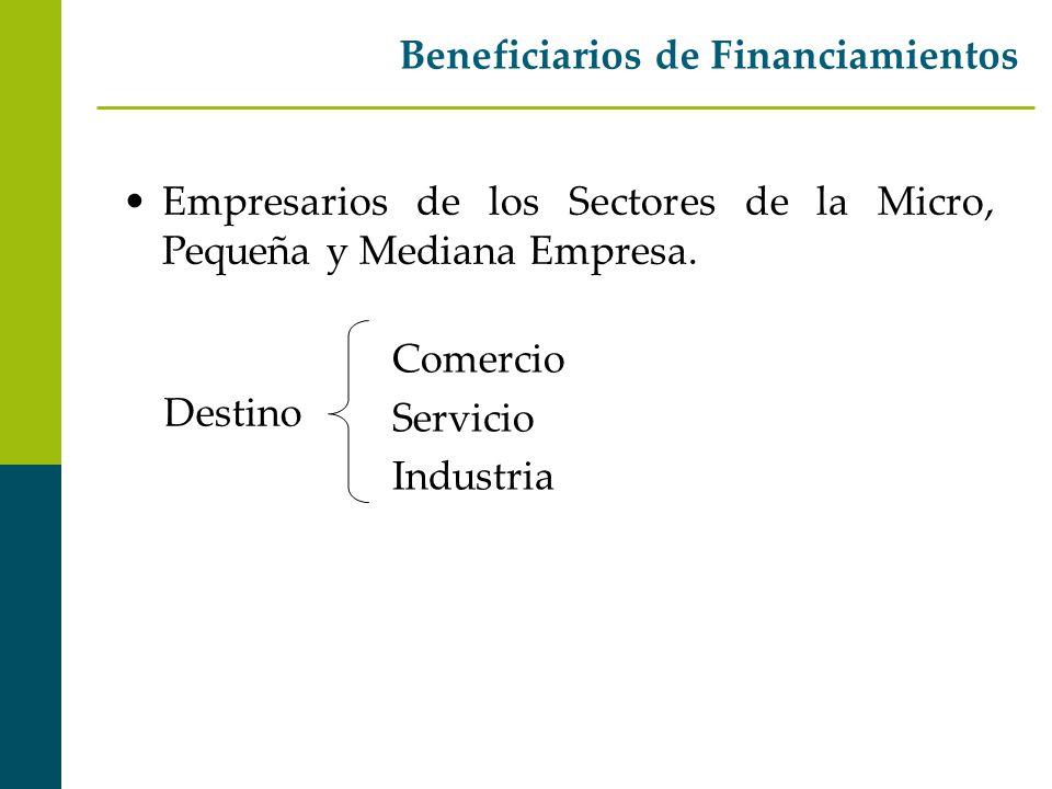 Beneficiarios de Financiamientos Empresarios de los Sectores de la Micro, Pequeña y Mediana Empresa. Destino Comercio Servicio Industria