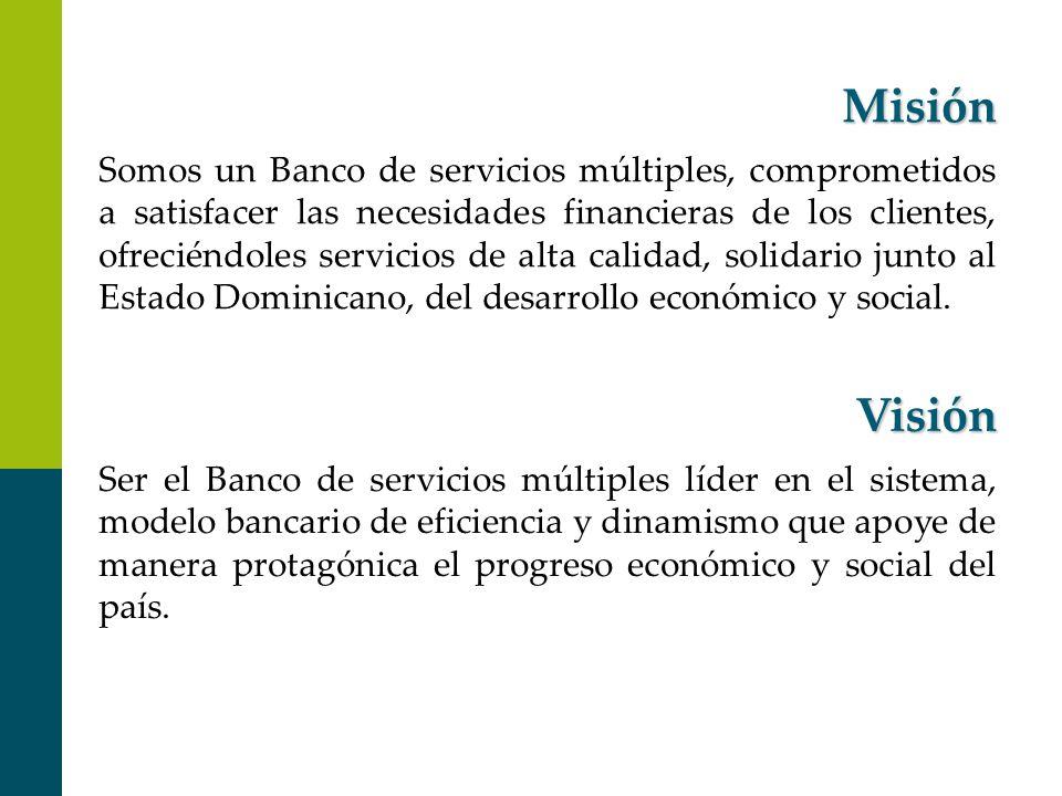 Misión Visión Somos un Banco de servicios múltiples, comprometidos a satisfacer las necesidades financieras de los clientes, ofreciéndoles servicios d