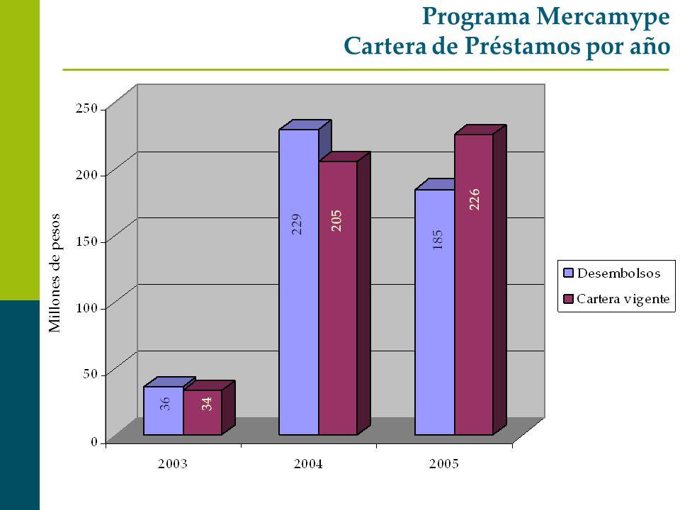 Programa Mercamype Cartera de Préstamos por año Millones de pesos