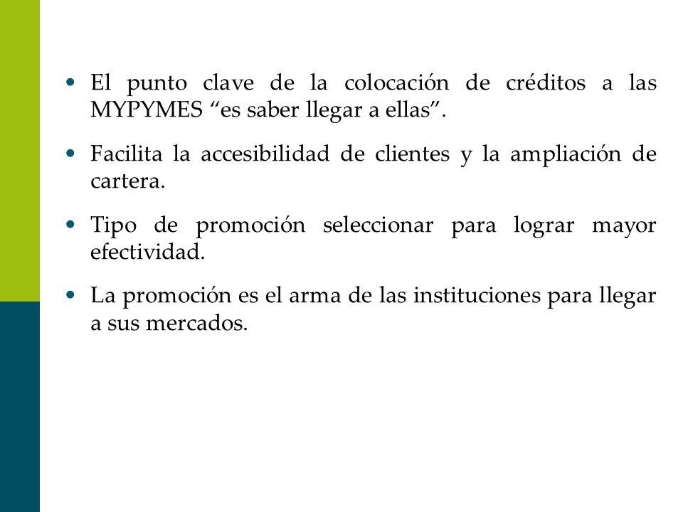 El punto clave de la colocación de créditos a las MYPYMES es saber llegar a ellas.