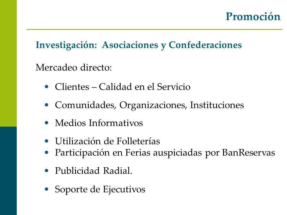 Investigación: Asociaciones y Confederaciones Promoción Mercadeo directo: Clientes – Calidad en el Servicio Comunidades, Organizaciones, Instituciones