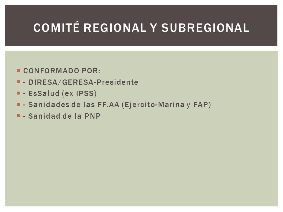 CONFORMADO POR: - DIRESA/GERESA-Presidente - EsSalud (ex IPSS) - Sanidades de las FF.AA (Ejercito-Marina y FAP) - Sanidad de la PNP COMITÉ REGIONAL Y