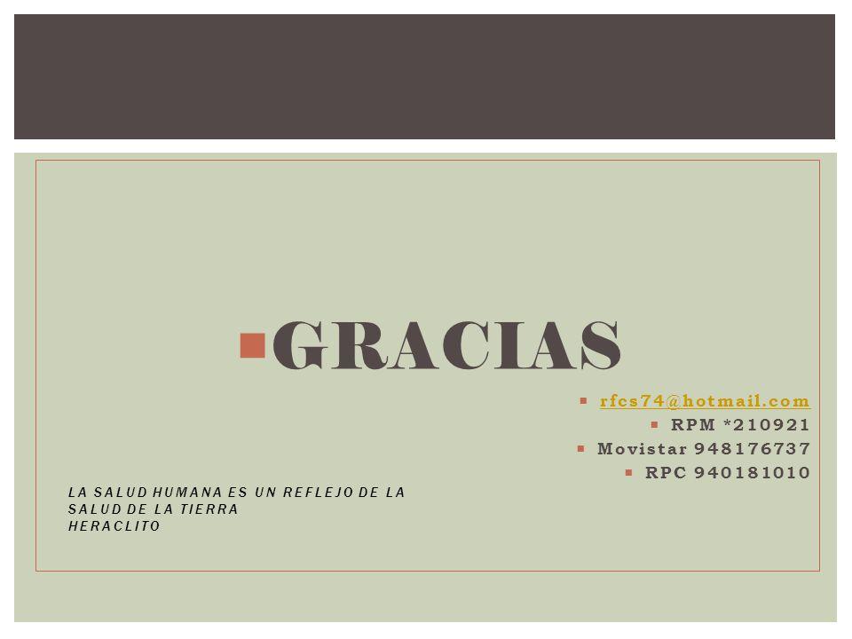 GRACIAS rfcs74@hotmail.com RPM *210921 Movistar 948176737 RPC 940181010 LA SALUD HUMANA ES UN REFLEJO DE LA SALUD DE LA TIERRA HERACLITO