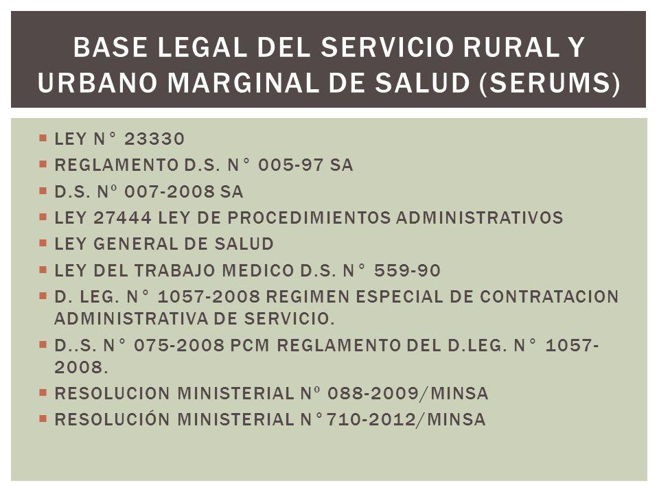 LEY N° 23330 REGLAMENTO D.S. N° 005-97 SA D.S. Nº 007-2008 SA LEY 27444 LEY DE PROCEDIMIENTOS ADMINISTRATIVOS LEY GENERAL DE SALUD LEY DEL TRABAJO MED