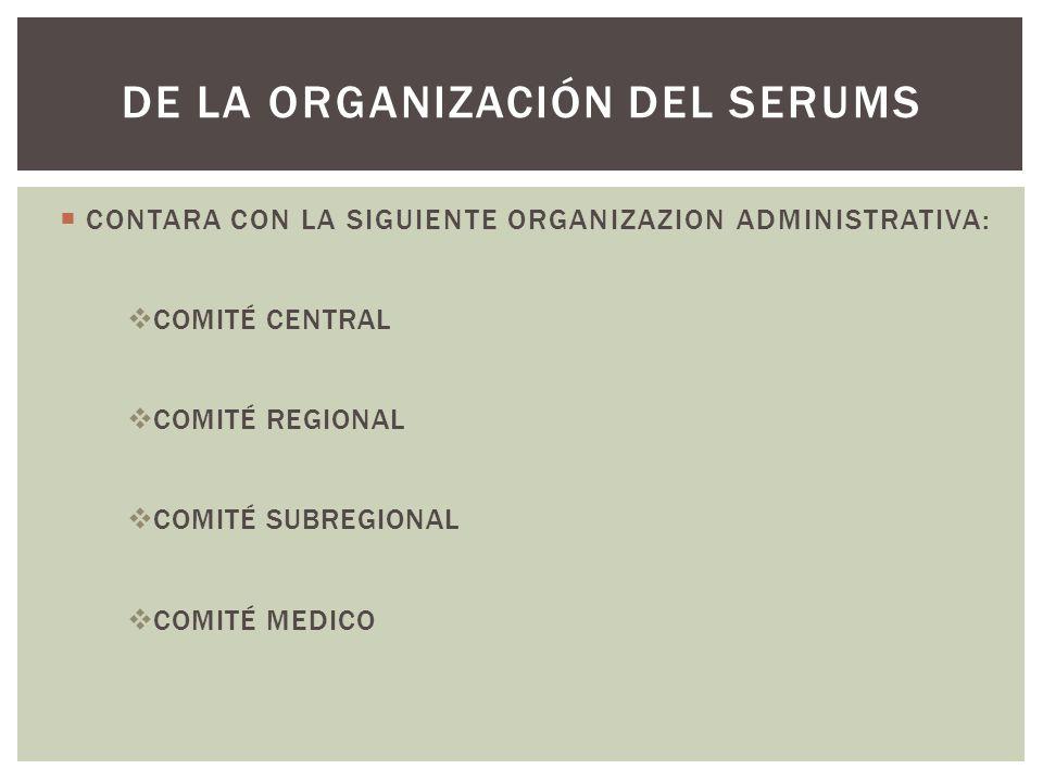 CONTARA CON LA SIGUIENTE ORGANIZAZION ADMINISTRATIVA: COMITÉ CENTRAL COMITÉ REGIONAL COMITÉ SUBREGIONAL COMITÉ MEDICO DE LA ORGANIZACIÓN DEL SERUMS