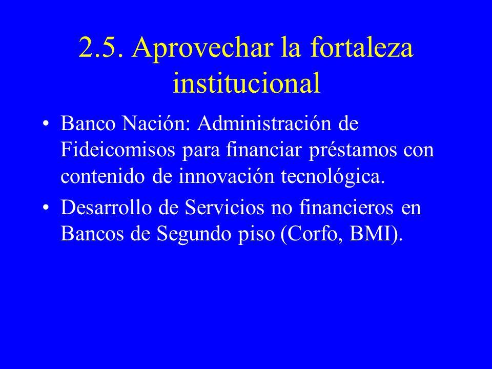 2.5. Aprovechar la fortaleza institucional Banco Nación: Administración de Fideicomisos para financiar préstamos con contenido de innovación tecnológi