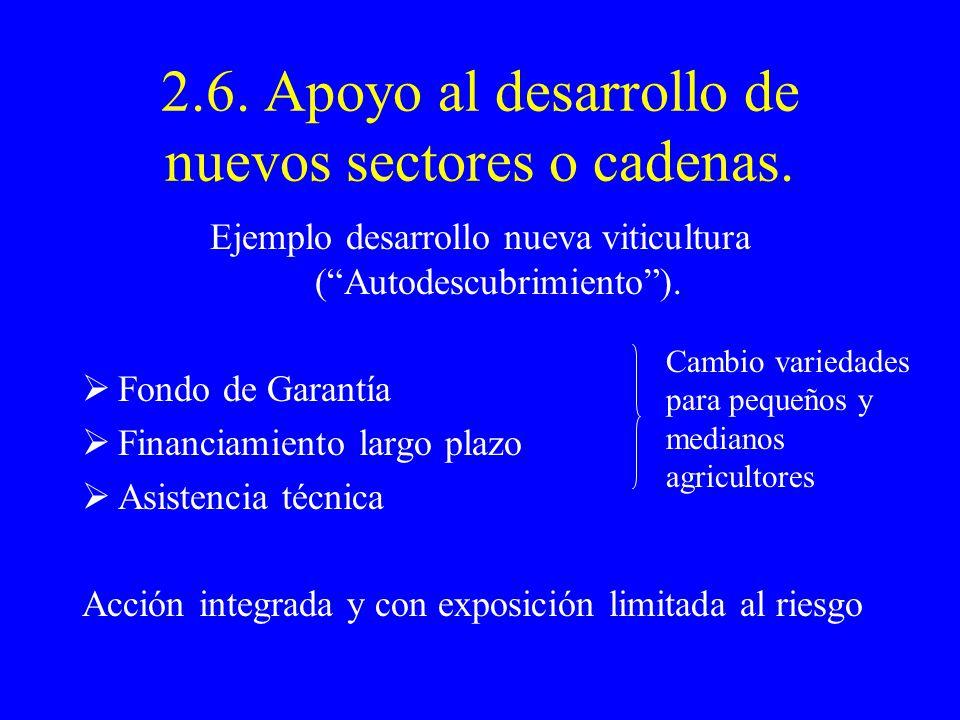 2.6. Apoyo al desarrollo de nuevos sectores o cadenas.