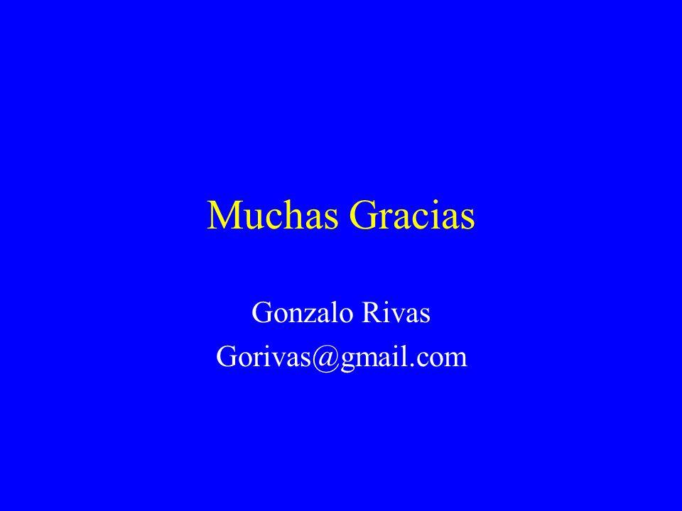 Muchas Gracias Gonzalo Rivas Gorivas@gmail.com