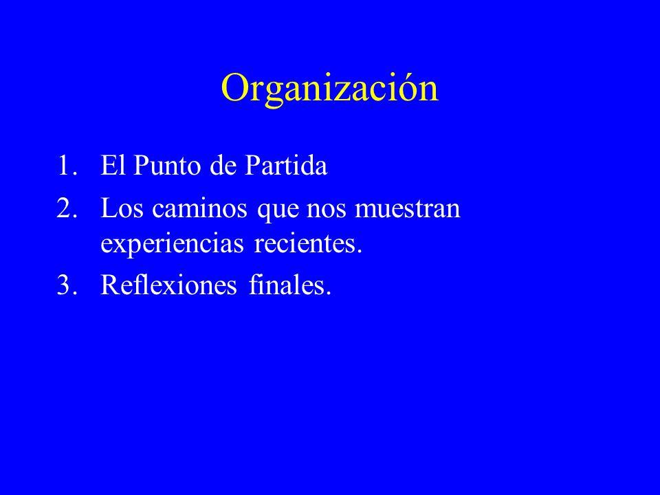Organización 1.El Punto de Partida 2.Los caminos que nos muestran experiencias recientes.