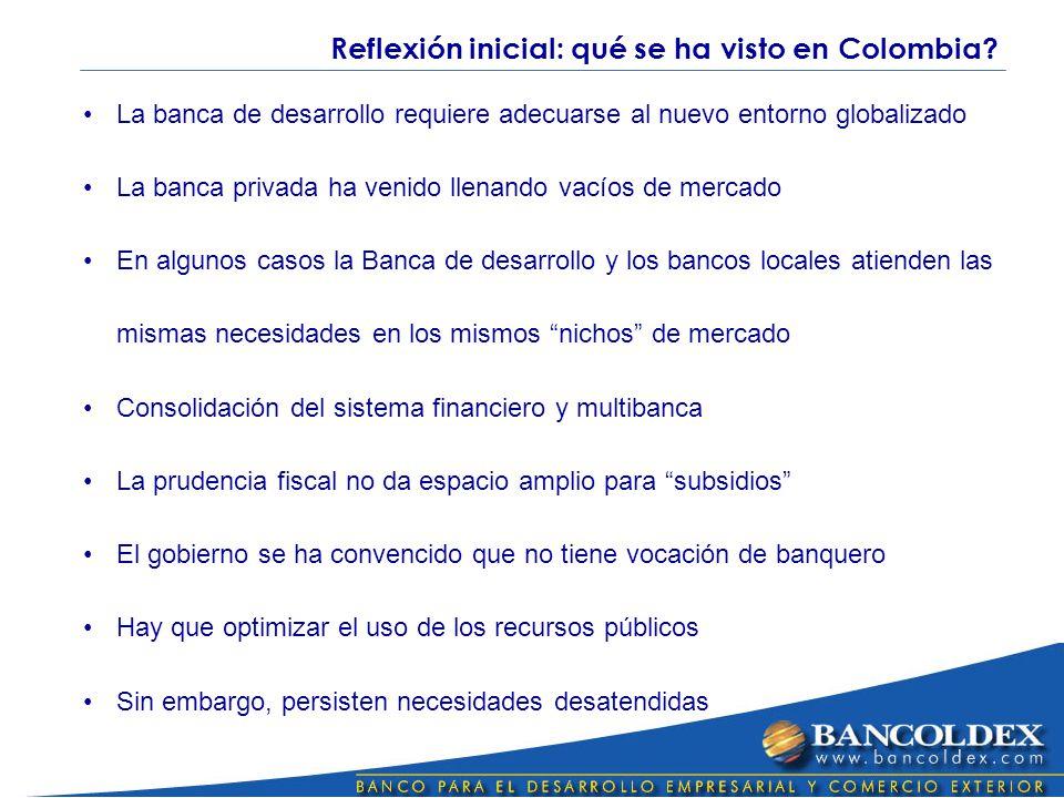 La banca de desarrollo requiere adecuarse al nuevo entorno globalizado La banca privada ha venido llenando vacíos de mercado En algunos casos la Banca de desarrollo y los bancos locales atienden las mismas necesidades en los mismos nichos de mercado Consolidación del sistema financiero y multibanca La prudencia fiscal no da espacio amplio para subsidios El gobierno se ha convencido que no tiene vocación de banquero Hay que optimizar el uso de los recursos públicos Sin embargo, persisten necesidades desatendidas Reflexión inicial: qué se ha visto en Colombia