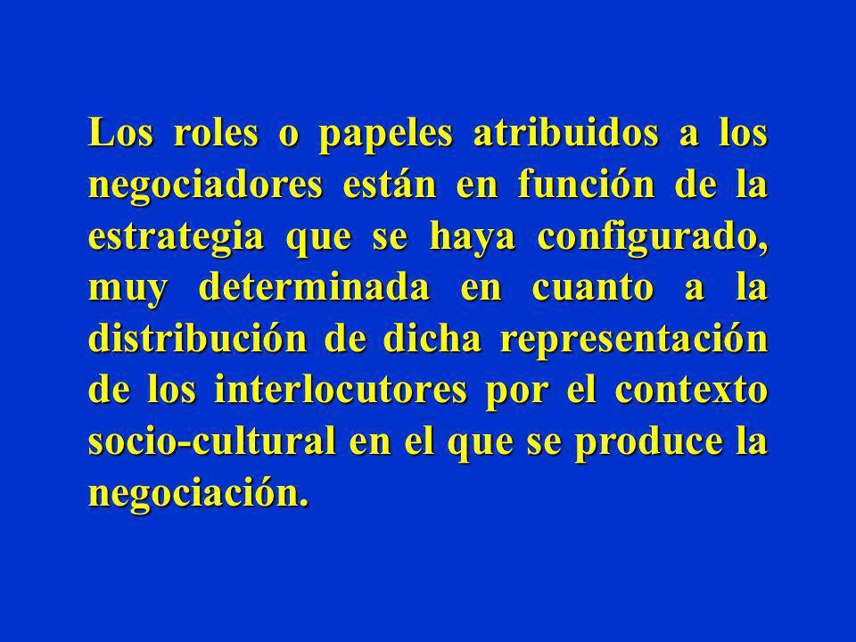 Los roles en la negociación Previamente a la constitución de la mesa de negociación, lo negociadores tienen que plantearse cuál va a ser la función a