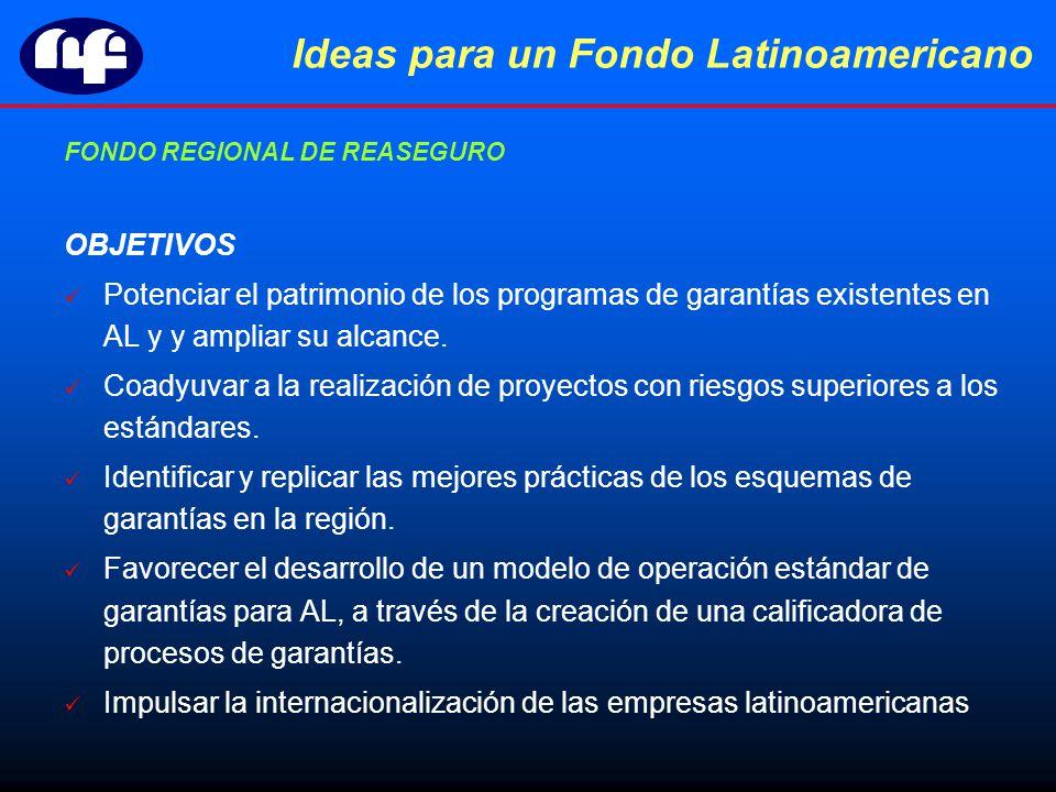 Ideas para un Fondo Latinoamericano FONDO REGIONAL DE REASEGURO OBJETIVOS Potenciar el patrimonio de los programas de garantías existentes en AL y y ampliar su alcance.