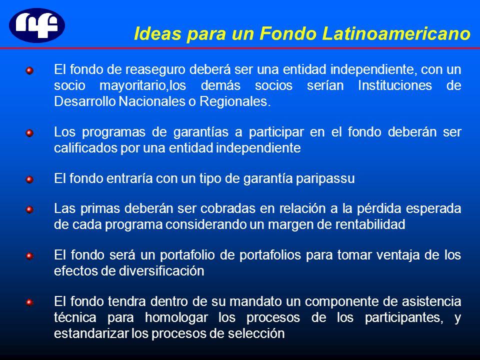 Ideas para un Fondo Latinoamericano El fondo de reaseguro deberá ser una entidad independiente, con un socio mayoritario,los demás socios serían Instituciones de Desarrollo Nacionales o Regionales.