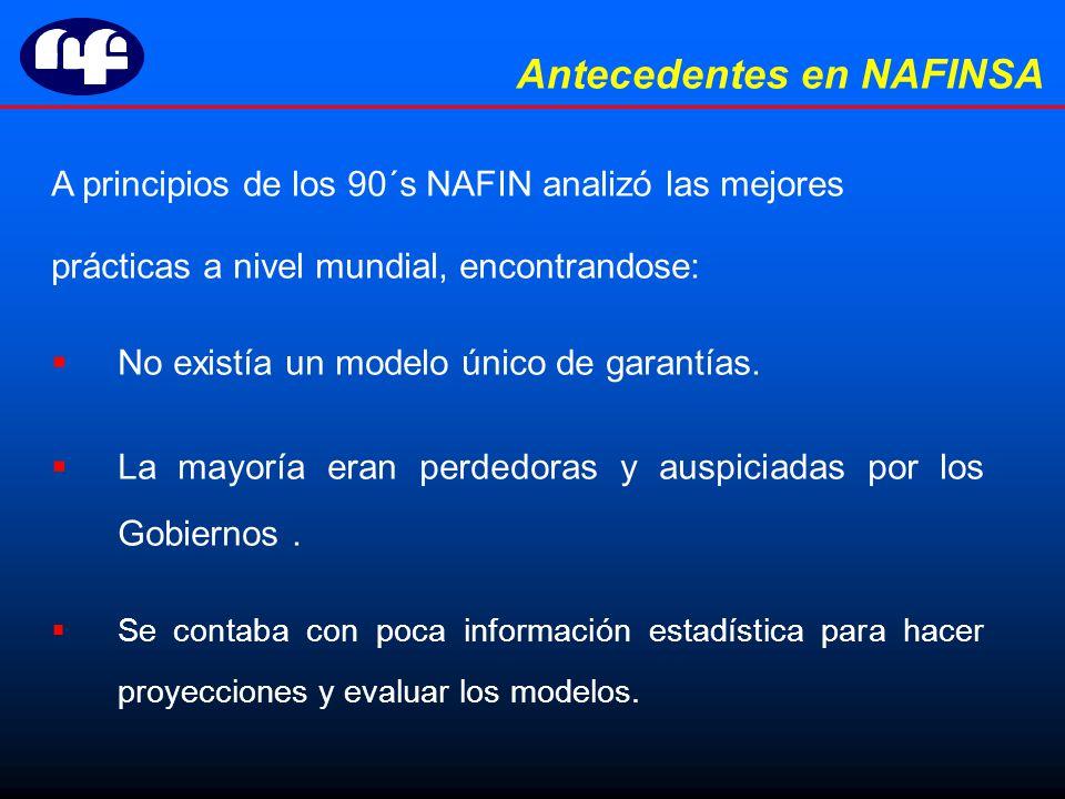 A principios de los 90´s NAFIN analizó las mejores prácticas a nivel mundial, encontrandose: No existía un modelo único de garantías.