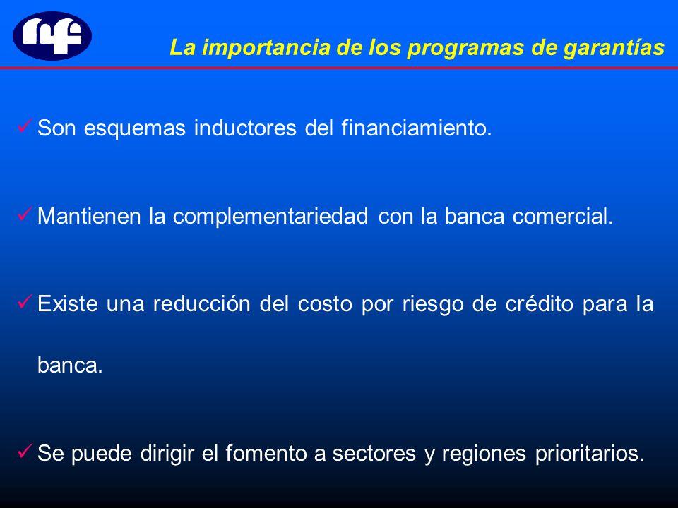 La importancia de los programas de garantías Son esquemas inductores del financiamiento.