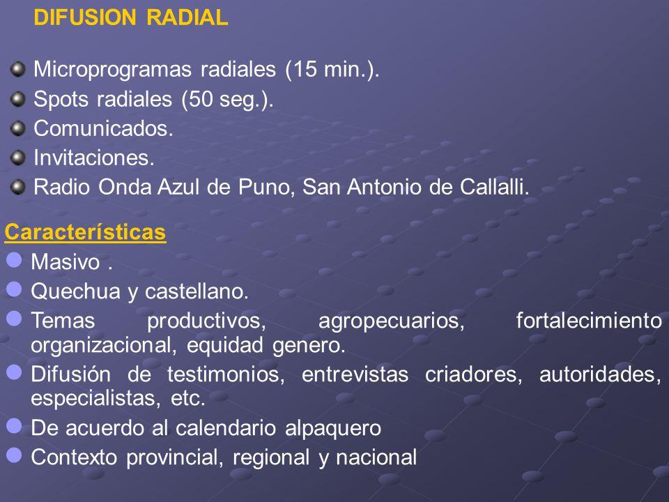 DIFUSION RADIAL Microprogramas radiales (15 min.). Spots radiales (50 seg.). Comunicados. Invitaciones. Radio Onda Azul de Puno, San Antonio de Callal