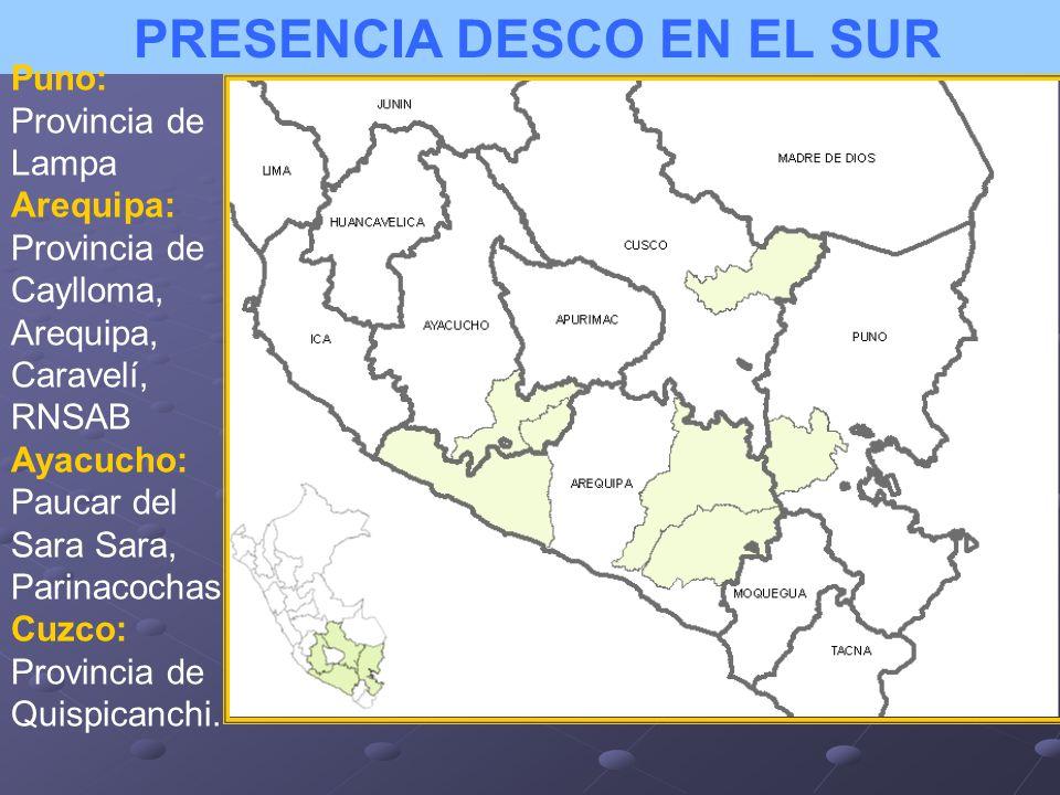 PRESENCIA DESCO EN EL SUR Puno: Provincia de Lampa Arequipa: Provincia de Caylloma, Arequipa, Caravelí, RNSAB Ayacucho: Paucar del Sara Sara, Parinaco