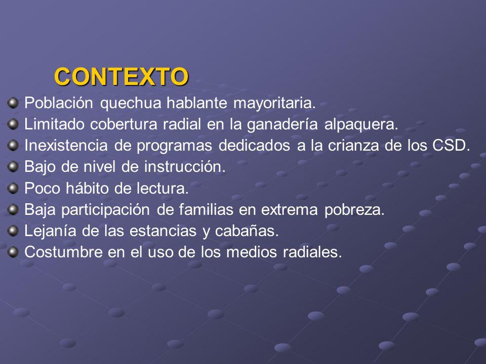 CONTEXTO Población quechua hablante mayoritaria. Limitado cobertura radial en la ganadería alpaquera. Inexistencia de programas dedicados a la crianza