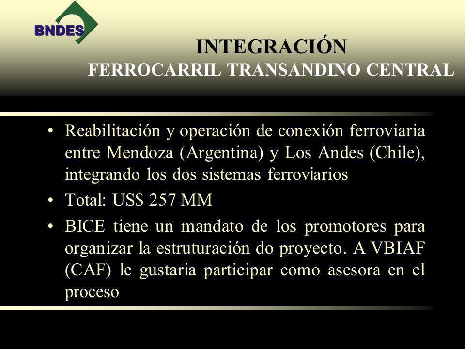 INTEGRACIÓN FERROCARRIL TRANSANDINO CENTRAL Reabilitación y operación de conexión ferroviaria entre Mendoza (Argentina) y Los Andes (Chile), integrando los dos sistemas ferrov i arios Total: US$ 257 MM BICE tiene un mandato de los promotores para organizar la estruturación do proyecto.