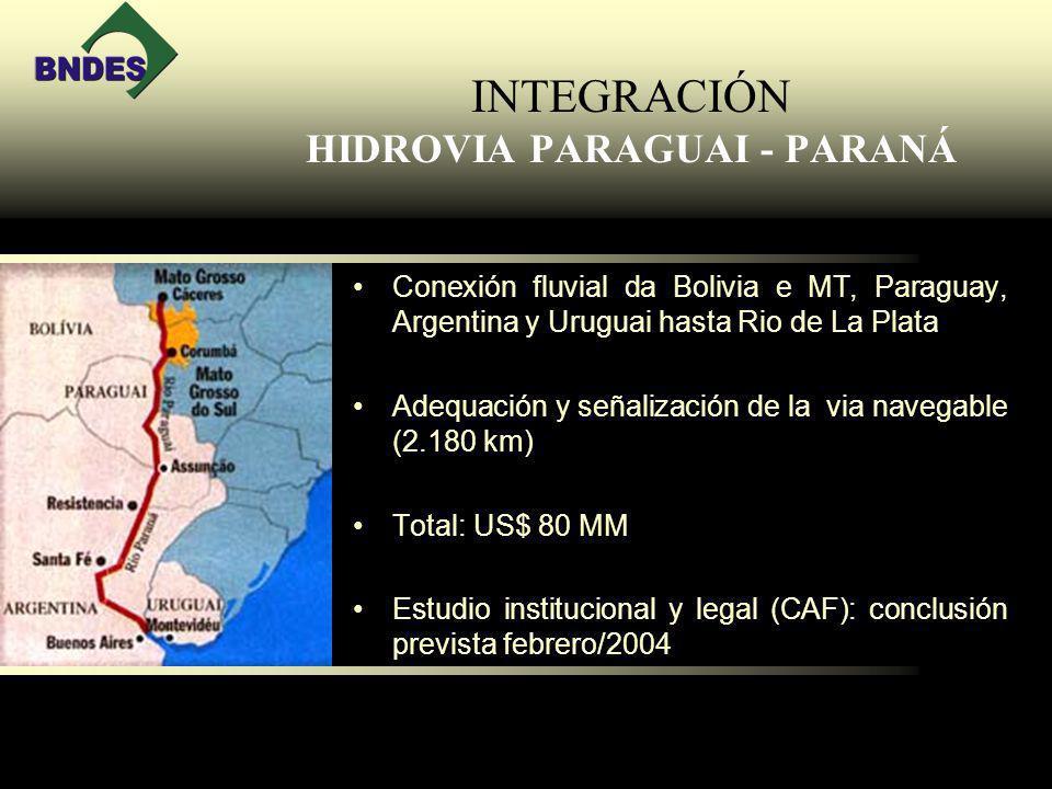 INTEGRACIÓN HIDROVIA PARAGUAI - PARANÁ Conexión fluvial da Bolivia e MT, Paraguay, Argentina y Uruguai hasta Rio de La Plata Adequación y señalización de la via navegable (2.180 km) Total: US$ 80 MM Estudio institucional y legal (CAF): conclusión prevista febrero/2004