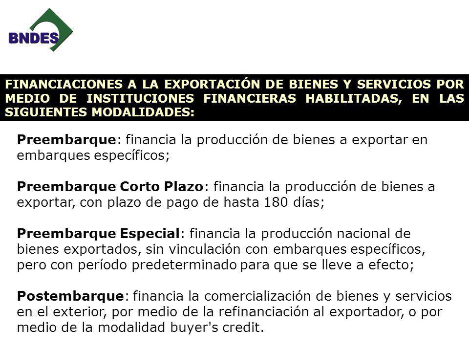 Preembarque: financia la producción de bienes a exportar en embarques específicos; Preembarque Corto Plazo: financia la producción de bienes a exporta