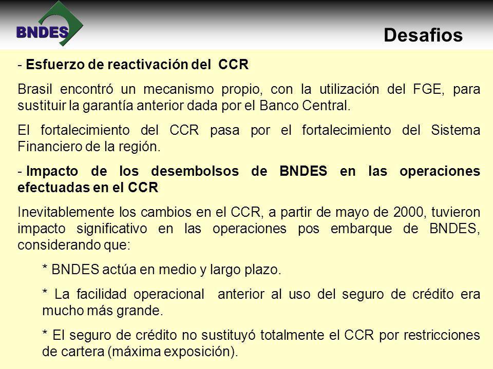 Desafios - Esfuerzo de reactivación del CCR Brasil encontró un mecanismo propio, con la utilización del FGE, para sustituir la garantía anterior dada por el Banco Central.