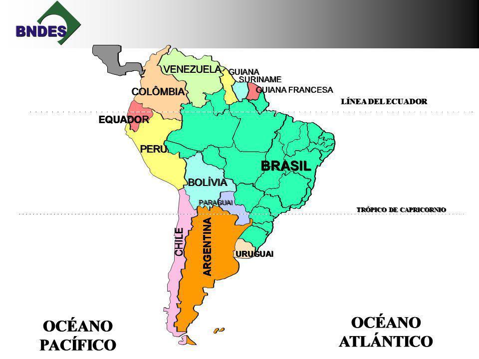 GUIANA FRANCESA SURINAME GUIANA VENEZUELA COLÔMBIA EQUADOR PERU BOLÍVIA BRASIL ARGENTINA CHILE PARAGUAI URUGUAI OCÉANO ATLÁNTICO OCÉANO ATLÁNTICO OCÉANO PACÍFICO OCÉANO PACÍFICO LÍNEA DEL ECUADOR TRÓPICO DE CAPRICORNIO